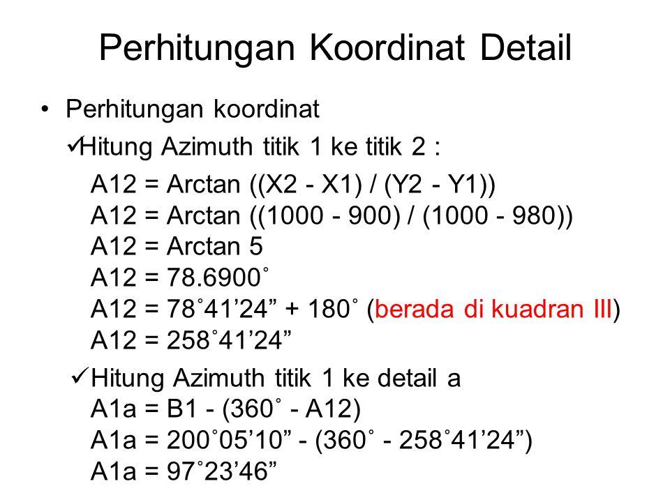 Perhitungan Koordinat Detail Hitung Koordinat titik detail a : - Untuk koordinat Xa Xa = X1 + d sin A1a Xa = 1000 + 22.365 sin 97˚23'46 Xa = 1022.1789 - Untuk koordinat Ya Xa = X1 + d cos A1a Xa = 1000 + 22.365 cos 97˚23'46 Xa = 997.1210