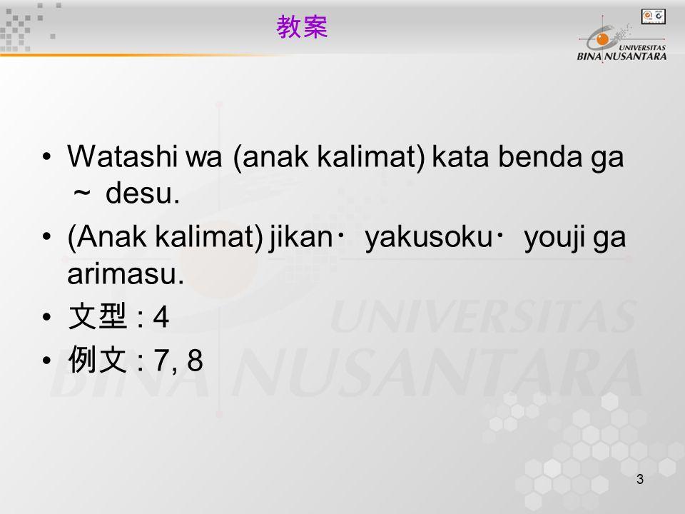 3 教案 Watashi wa (anak kalimat) kata benda ga ~ desu.