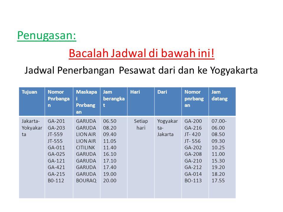 Penugasan: Bacalah Jadwal di bawah ini! Jadwal Penerbangan Pesawat dari dan ke Yogyakarta TujuanNomor Pnrbanga n Maskapa i Pnrbang an Jam berangka t H