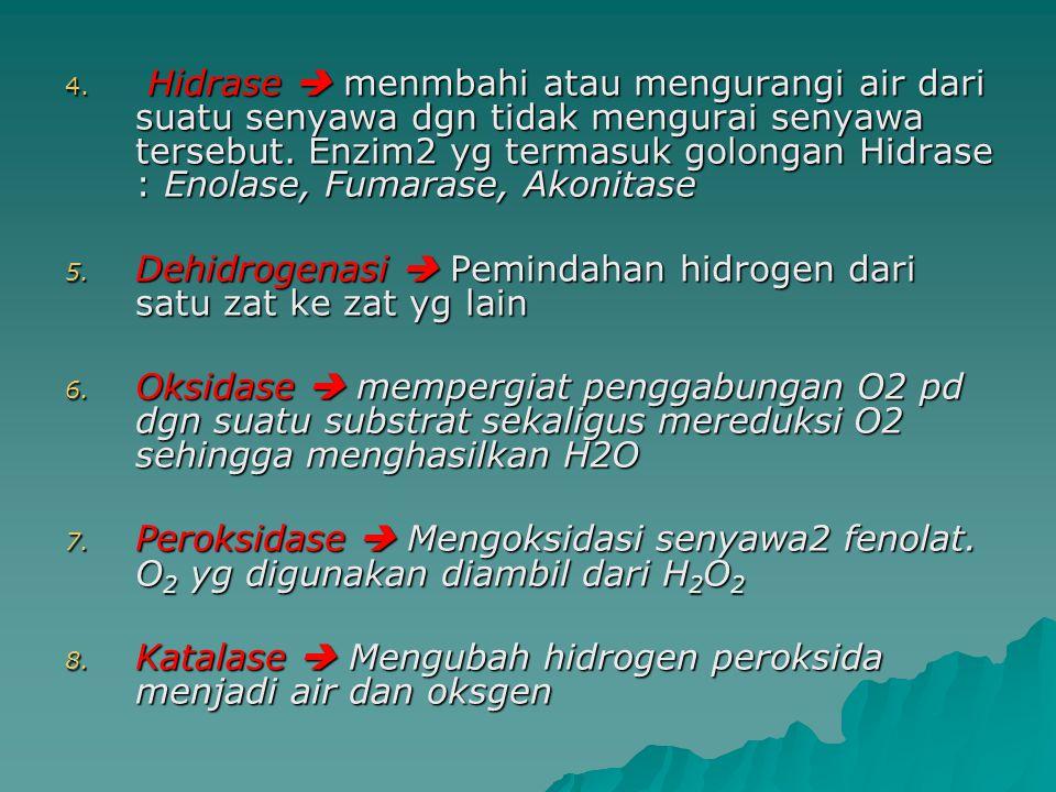 4.Hidrase  menmbahi atau mengurangi air dari suatu senyawa dgn tidak mengurai senyawa tersebut.