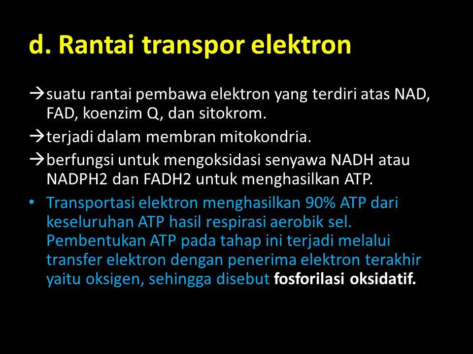 d. Rantai transpor elektron  suatu rantai pembawa elektron yang terdiri atas NAD, FAD, koenzim Q, dan sitokrom.  terjadi dalam membran mitokondria.