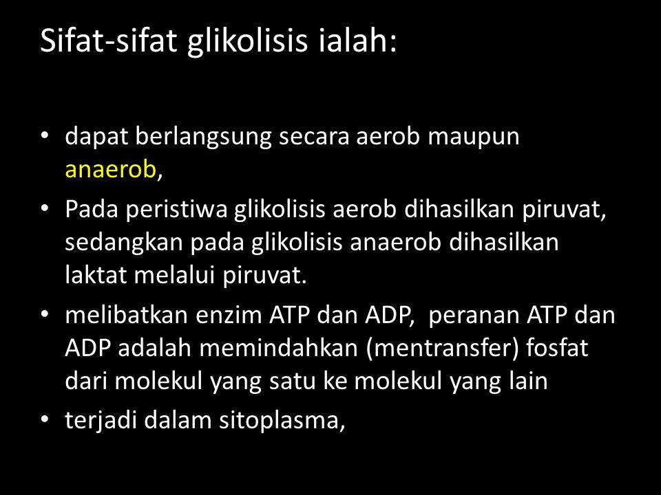 Sifat-sifat glikolisis ialah: dapat berlangsung secara aerob maupun anaerob, Pada peristiwa glikolisis aerob dihasilkan piruvat, sedangkan pada glikol