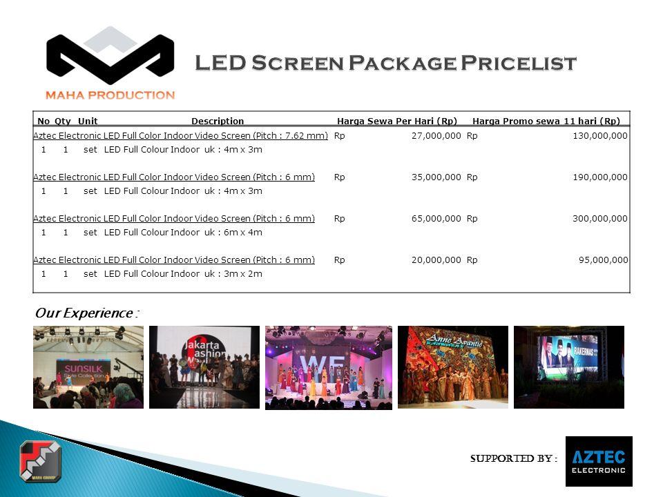 Supported by : NoQtyUnitDescriptionHarga Sewa Per Hari (Rp)Harga Promo sewa 11 hari (Rp) Aztec Electronic LED Full Color Indoor Video Screen (Pitch :