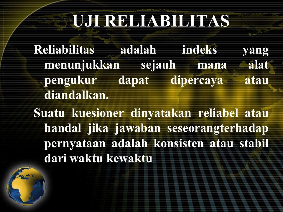 UJI RELIABILITAS Reliabilitas adalah indeks yang menunjukkan sejauh mana alat pengukur dapat dipercaya atau diandalkan. Suatu kuesioner dinyatakan rel