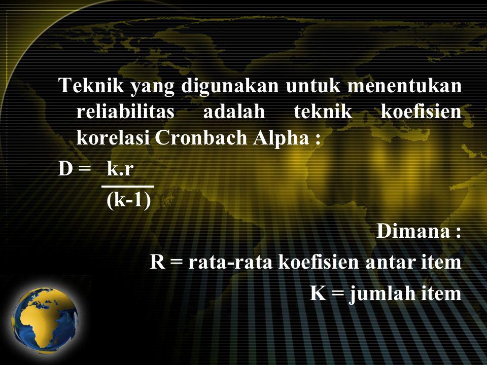 Koefisien memiliki nilai diantara 0 dan 1.