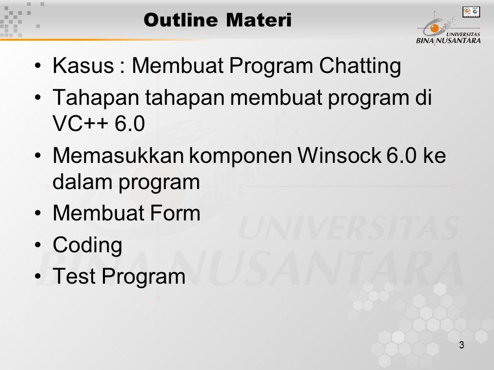 3 Outline Materi Kasus : Membuat Program Chatting Tahapan tahapan membuat program di VC++ 6.0 Memasukkan komponen Winsock 6.0 ke dalam program Membuat Form Coding Test Program