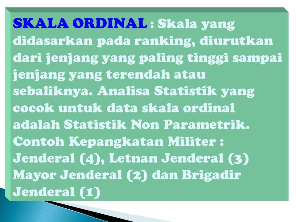 SKALA ORDINAL : Skala yang didasarkan pada ranking, diurutkan dari jenjang yang paling tinggi sampai jenjang yang terendah atau sebaliknya. Analisa St