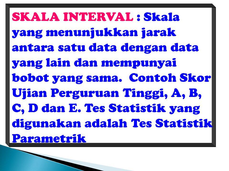 SKALA INTERVAL : Skala yang menunjukkan jarak antara satu data dengan data yang lain dan mempunyai bobot yang sama. Contoh Skor Ujian Perguruan Tinggi