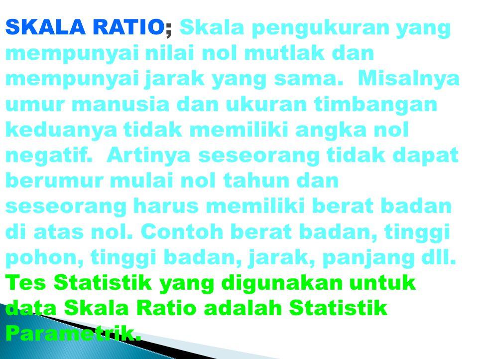 SKALA RATIO; Skala pengukuran yang mempunyai nilai nol mutlak dan mempunyai jarak yang sama. Misalnya umur manusia dan ukuran timbangan keduanya tidak
