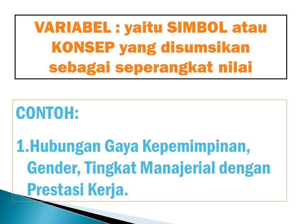 VARIABEL : yaitu SIMBOL atau KONSEP yang disumsikan sebagai seperangkat nilai CONTOH: 1.Hubungan Gaya Kepemimpinan, Gender, Tingkat Manajerial dengan