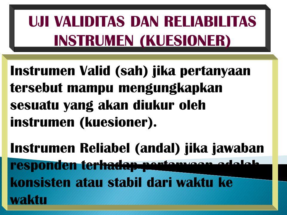 UJI VALIDITAS DAN RELIABILITAS INSTRUMEN (KUESIONER) Instrumen Valid (sah) jika pertanyaan tersebut mampu mengungkapkan sesuatu yang akan diukur oleh