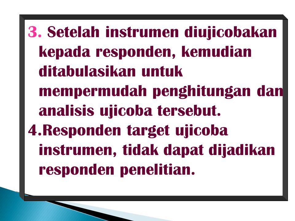 3. Setelah instrumen diujicobakan kepada responden, kemudian ditabulasikan untuk mempermudah penghitungan dan analisis ujicoba tersebut. 4.Responden t