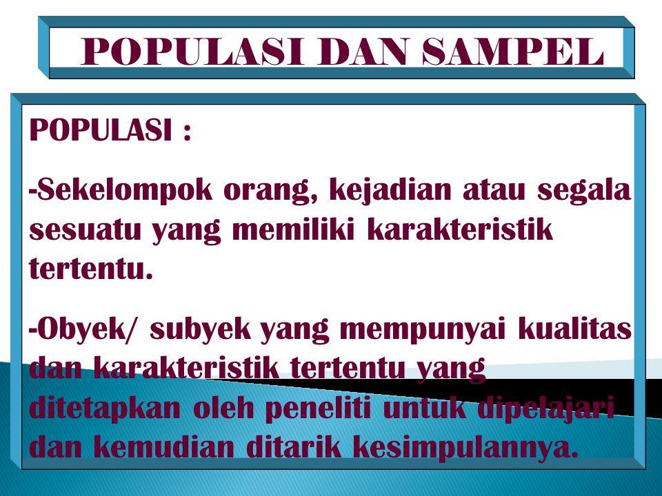 POPULASI DAN SAMPEL POPULASI : -Sekelompok orang, kejadian atau segala sesuatu yang memiliki karakteristik tertentu. -Obyek/ subyek yang mempunyai kua