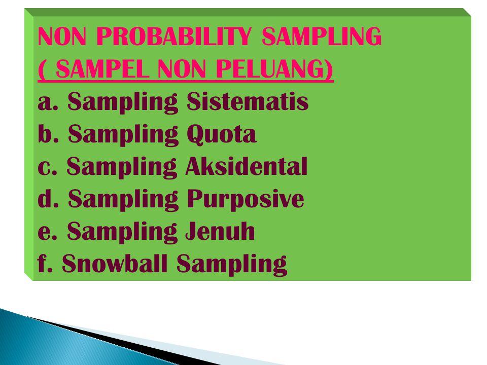 NON PROBABILITY SAMPLING ( SAMPEL NON PELUANG) a. Sampling Sistematis b. Sampling Quota c. Sampling Aksidental d. Sampling Purposive e. Sampling Jenuh