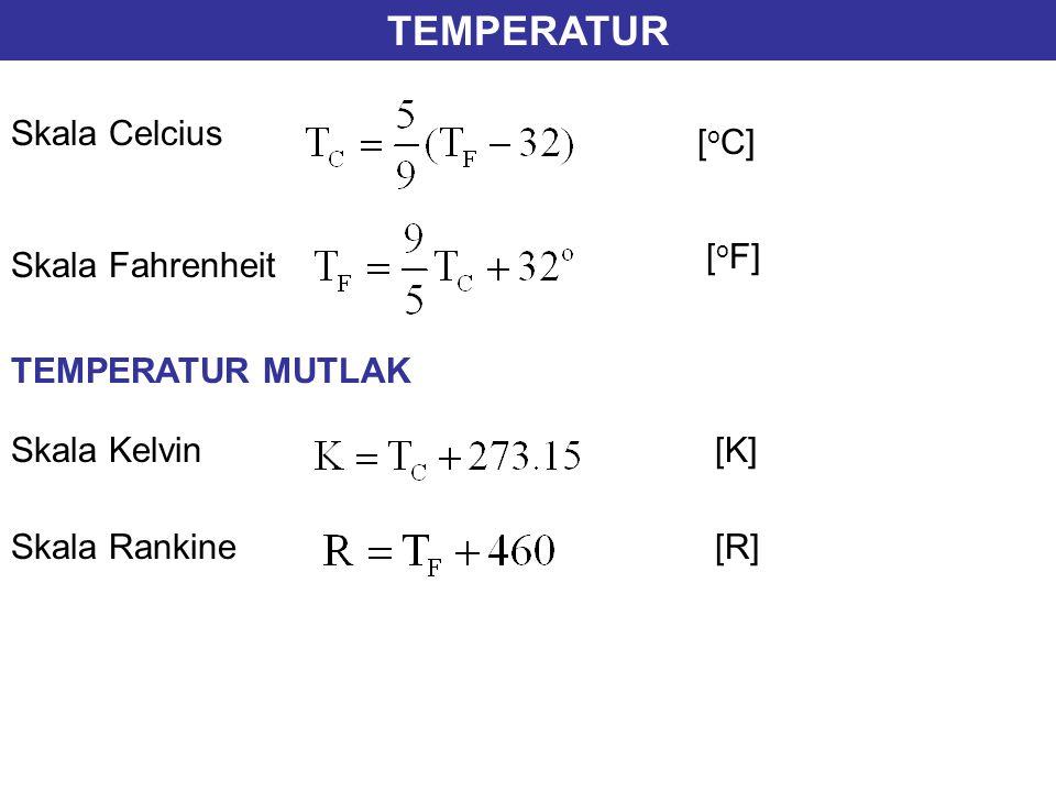 TEMPERATUR Skala Celcius Skala Fahrenheit Skala Kelvin Skala Rankine TEMPERATUR MUTLAK [ o C] [ o F] [K] [R]