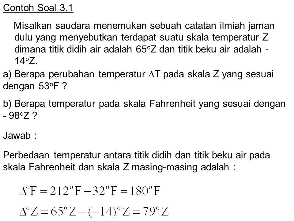 Contoh Soal 3.1 Misalkan saudara menemukan sebuah catatan ilmiah jaman dulu yang menyebutkan terdapat suatu skala temperatur Z dimana titik didih air
