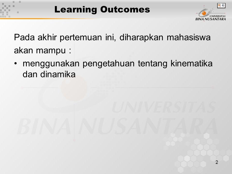 2 Learning Outcomes Pada akhir pertemuan ini, diharapkan mahasiswa akan mampu : menggunakan pengetahuan tentang kinematika dan dinamika
