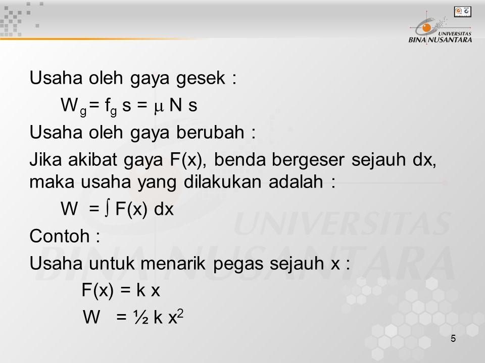 5 Usaha oleh gaya gesek : W g = f g s =  N s Usaha oleh gaya berubah : Jika akibat gaya F(x), benda bergeser sejauh dx, maka usaha yang dilakukan adalah : W =  F(x) dx Contoh : Usaha untuk menarik pegas sejauh x : F(x) = k x W = ½ k x 2