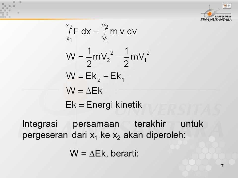 7 Integrasi persamaan terakhir untuk pergeseran dari x 1 ke x 2 akan diperoleh: W =  Ek, berarti:
