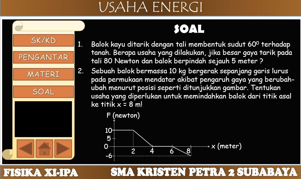 USAHA ENERGI SOAL 1.Balok kayu ditarik dengan tali membentuk sudut 60 0 terhadap tanah. Berapa usaha yang dilakukan, jika besar gaya tarik pada tali 8