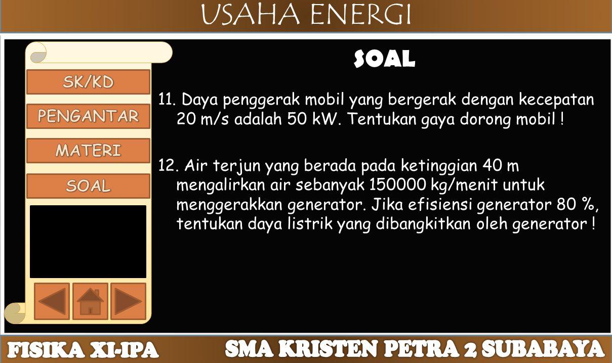 USAHA ENERGI SOAL 11. Daya penggerak mobil yang bergerak dengan kecepatan 20 m/s adalah 50 kW. Tentukan gaya dorong mobil ! 12. Air terjun yang berada