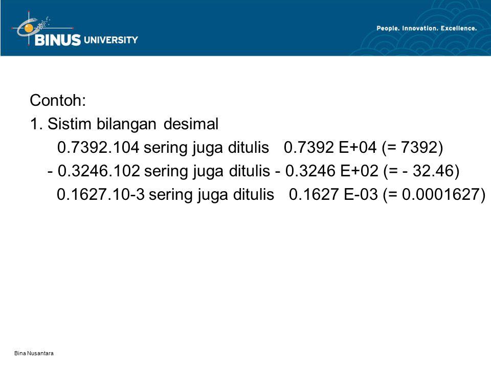 Bina Nusantara Contoh: 1. Sistim bilangan desimal 0.7392.104 sering juga ditulis 0.7392 E+04 (= 7392) - 0.3246.102 sering juga ditulis - 0.3246 E+02 (