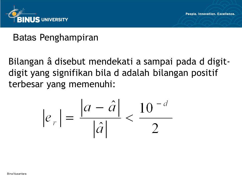 Bina Nusantara Bilangan â disebut mendekati a sampai pada d digit- digit yang signifikan bila d adalah bilangan positif terbesar yang memenuhi: Batas