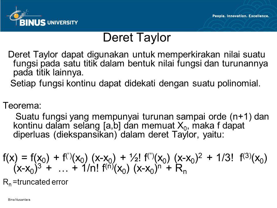Bina Nusantara Deret Taylor Deret Taylor dapat digunakan untuk memperkirakan nilai suatu fungsi pada satu titik dalam bentuk nilai fungsi dan turunann