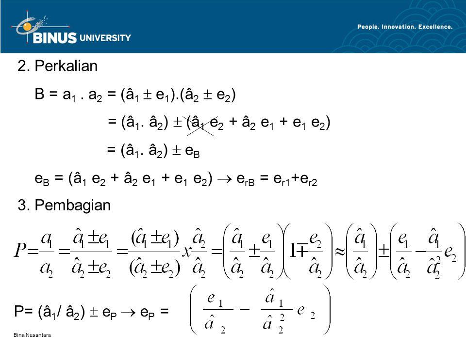 Bina Nusantara 2. Perkalian B = a 1. a 2 = (â 1  e 1 ).(â 2  e 2 ) = (â 1. â 2 )  (â 1 e 2 + â 2 e 1 + e 1 e 2 ) = (â 1. â 2 )  e B e B = (â 1 e 2