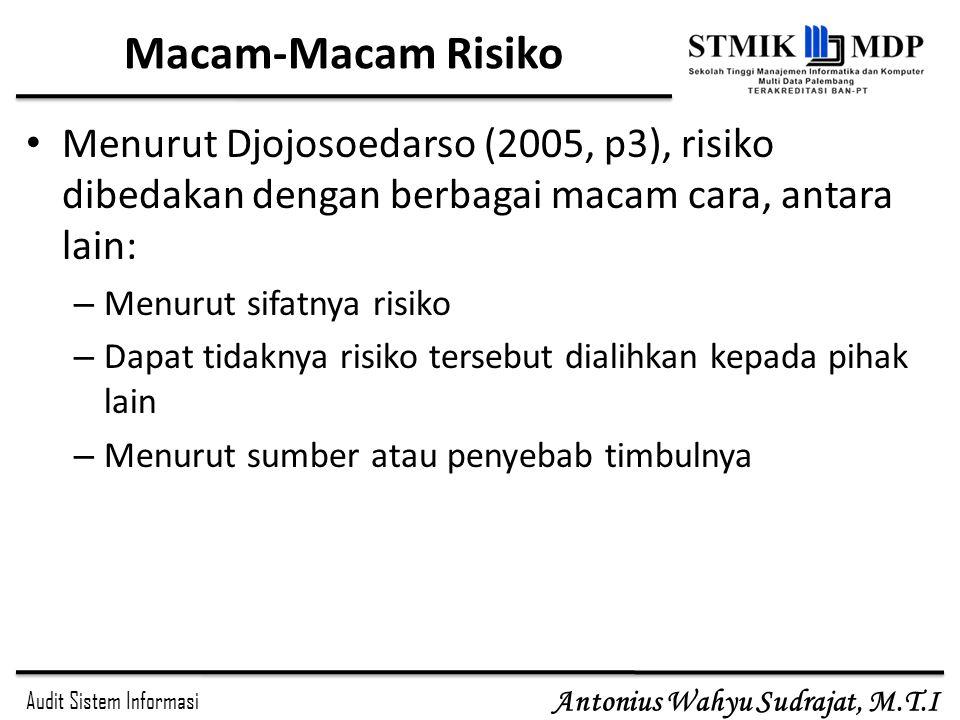 Audit Sistem Informasi Antonius Wahyu Sudrajat, M.T.I Macam-Macam Risiko Menurut Djojosoedarso (2005, p3), risiko dibedakan dengan berbagai macam cara