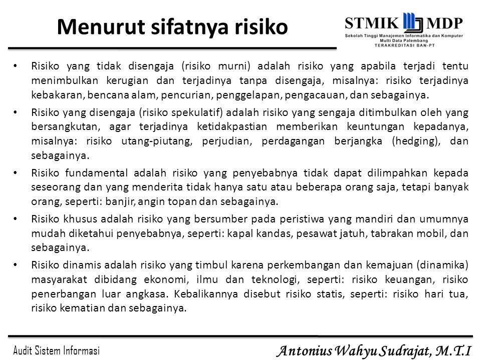 Audit Sistem Informasi Antonius Wahyu Sudrajat, M.T.I Menurut sifatnya risiko Risiko yang tidak disengaja (risiko murni) adalah risiko yang apabila te