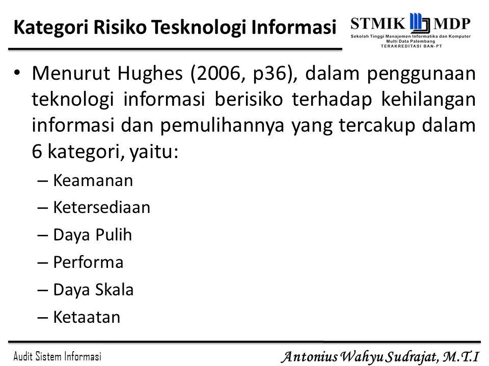 Audit Sistem Informasi Antonius Wahyu Sudrajat, M.T.I Kategori Risiko Tesknologi Informasi Menurut Hughes (2006, p36), dalam penggunaan teknologi info