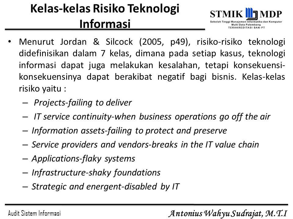 Audit Sistem Informasi Antonius Wahyu Sudrajat, M.T.I Kelas-kelas Risiko Teknologi Informasi Menurut Jordan & Silcock (2005, p49), risiko-risiko tekno