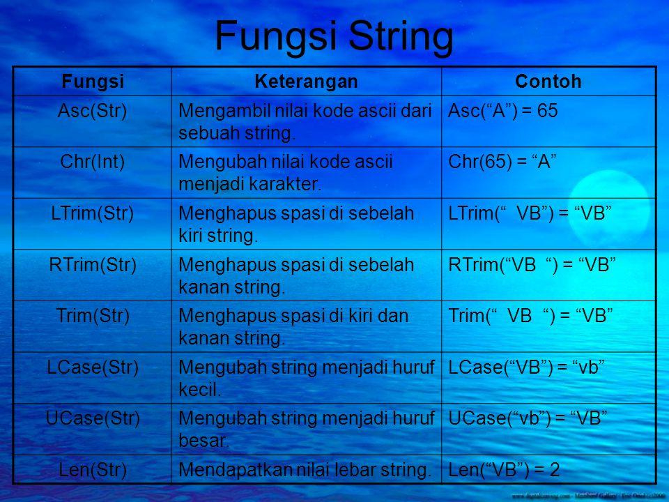 Fungsi String FungsiKeteranganContoh Left(Str,Int)Mengambil karakter dari sebelah kiri Str sebanyak Int.