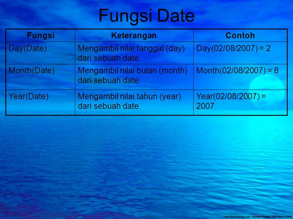 Fungsi Date FungsiKeteranganContoh Day(Date)Mengambil nilai tanggal (day) dari sebuah date.