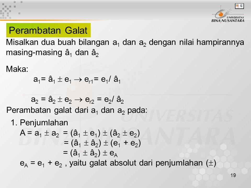 19 Perambatan Galat Misalkan dua buah bilangan a 1 dan a 2 dengan nilai hampirannya masing-masing â 1 dan â 2 Maka: a 1 = â 1  e 1  e r1 = e 1 / â 1 a 2 = â 2  e 2  e r2 = e 2 / â 2 Perambatan galat dari a 1 dan a 2 pada: 1.Penjumlahan A = a 1  a 2 = (â 1  e 1 )  (â 2  e 2 ) = (â 1  â 2 )  (e 1 + e 2 ) = (â 1  â 2 )  e A e A = e 1 + e 2, yaitu galat absolut dari penjumlahan (  )