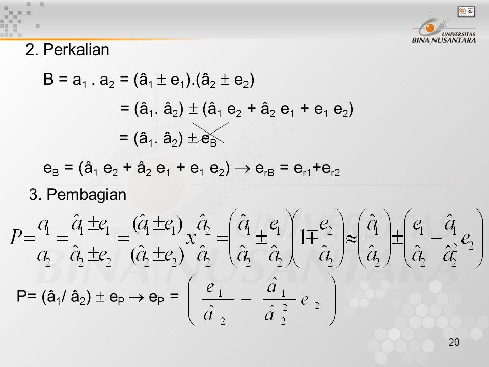 20 2.Perkalian B = a 1. a 2 = (â 1  e 1 ).(â 2  e 2 ) = (â 1.