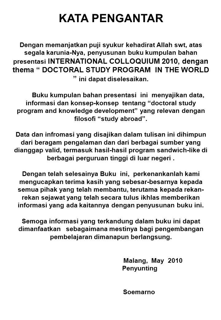 DOCTORAL STUDY PROGRAM IN THE WORLD INTERNATIONAL COLLOQUIUM GRADUATE SCHOOL, UNIVERSITY OF BRAWIJAYA Malang, 30 th April - 1 th May 2010 Research Studies in Australia Loekito A.