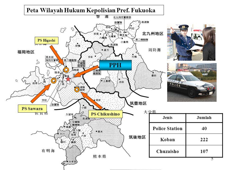 6 Jumlah Pegawai Kepolisian Pering- kat Prefektur Jumlah kasus yg tercatat 1 Tokyo 212.152 2 Osaka 201.816 3 Aichi 144.694 4 Saitama 122.108 5 Kanagawa 113.556 6 Chiba 100.827 7 Hyogo 97.527 8 Fukuoka 90.356 9 Hokkaido 59.733 10 Kyoto 50.259 [Jumlah kasus tindak pidana yg tercatat selama tahun 2008] [Jumlah kasus yg perlu diurus dari panggilan tel.