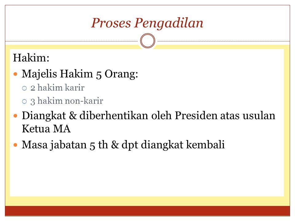 Proses Pengadilan Hakim: Majelis Hakim 5 Orang:  2 hakim karir  3 hakim non-karir Diangkat & diberhentikan oleh Presiden atas usulan Ketua MA Masa j