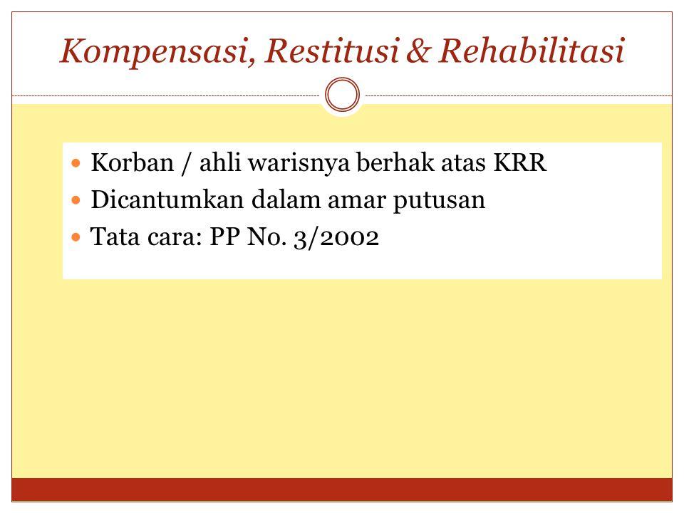 Kompensasi, Restitusi & Rehabilitasi Korban / ahli warisnya berhak atas KRR Dicantumkan dalam amar putusan Tata cara: PP No. 3/2002
