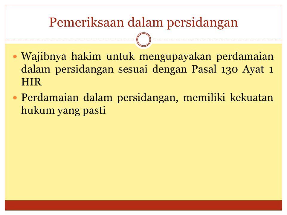 Pemeriksaan dalam persidangan Wajibnya hakim untuk mengupayakan perdamaian dalam persidangan sesuai dengan Pasal 130 Ayat 1 HIR Perdamaian dalam persi