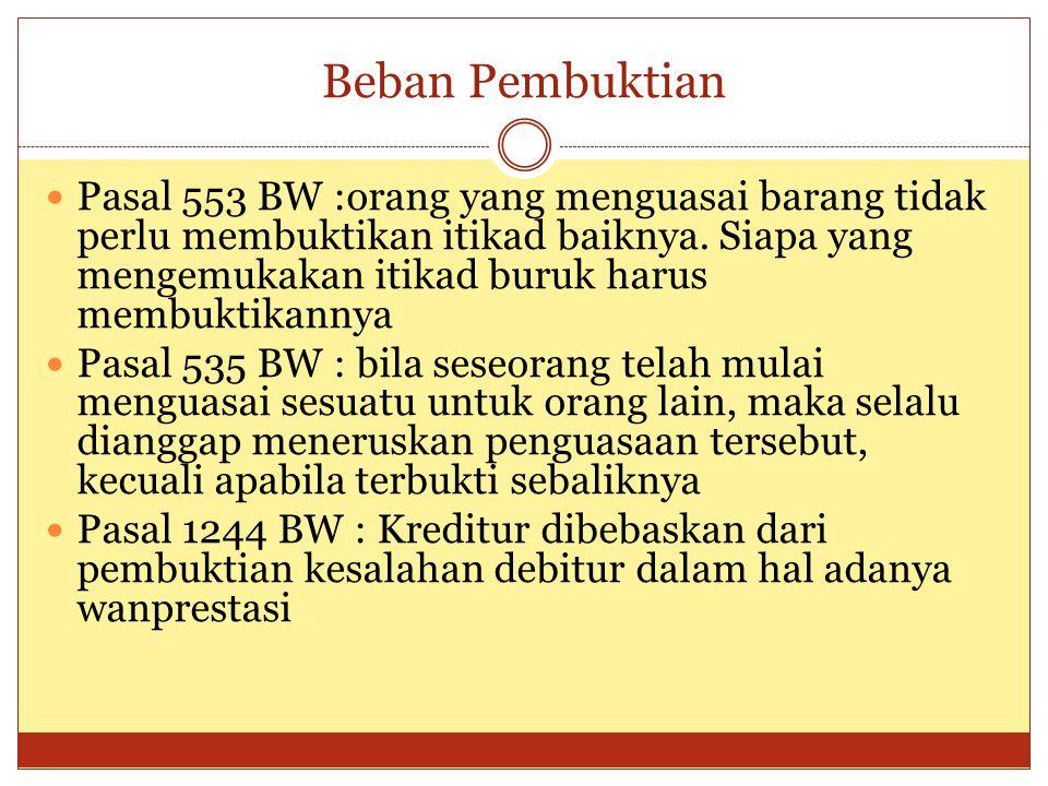 Beban Pembuktian Pasal 553 BW :orang yang menguasai barang tidak perlu membuktikan itikad baiknya.