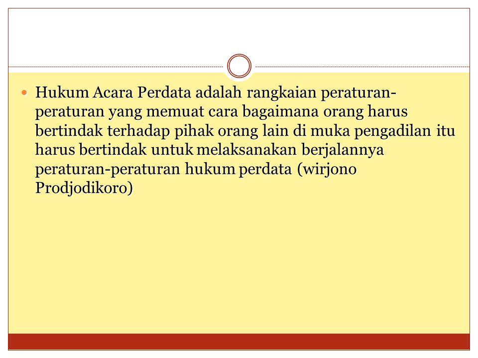 Kepentingan Subyek Hukum Pengadilan Hukum Acara Positive Gugatan Psl : 118 HIR/124 RBG 1.