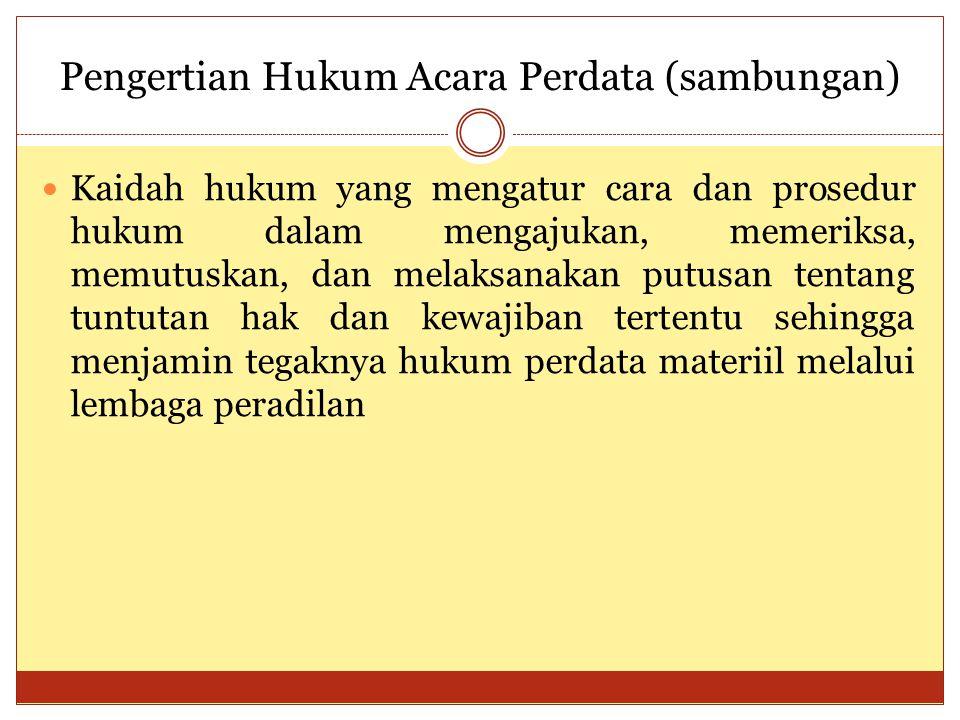 Asas-asas Hukum Acara Perdata (sambungan) Tidak ada keharusan mewakilkan dalam Beracara Majelis hakim di Persidangan (Pasal 15 UU No.