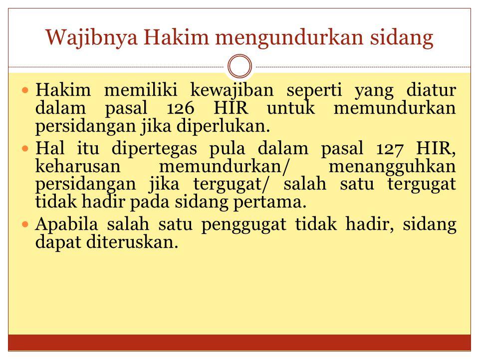 Wajibnya Hakim mengundurkan sidang Hakim memiliki kewajiban seperti yang diatur dalam pasal 126 HIR untuk memundurkan persidangan jika diperlukan. Hal