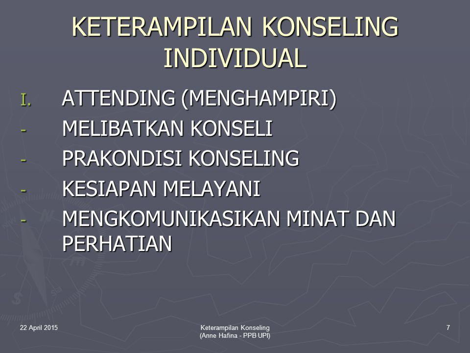 22 April 2015Keterampilan Konseling (Anne Hafina - PPB UPI) 28 3.