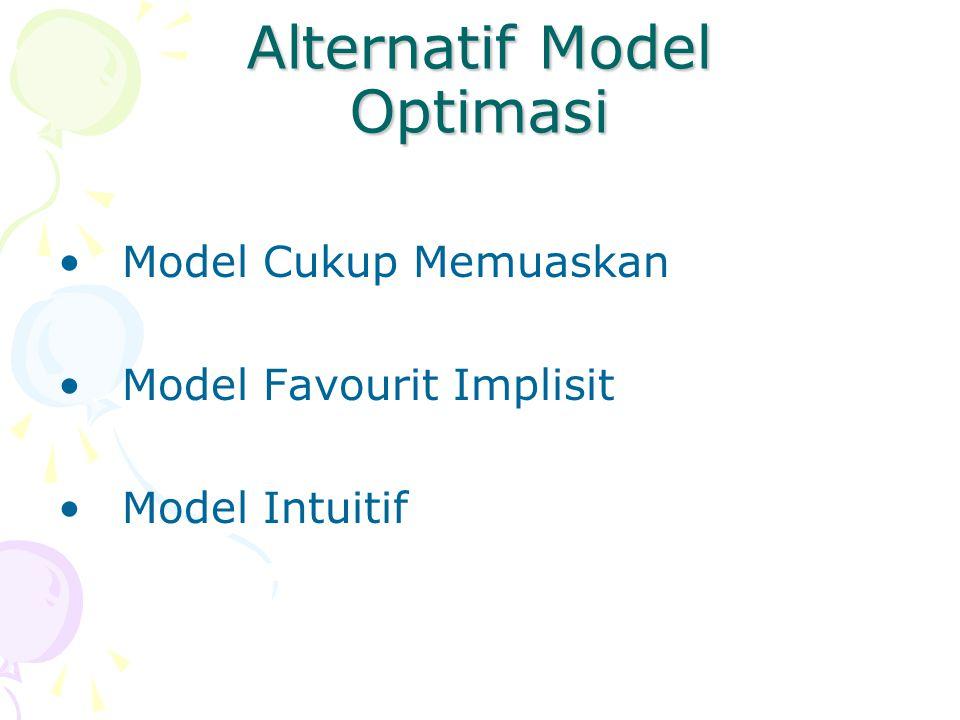 Alternatif Model Optimasi Model Cukup Memuaskan Model Favourit Implisit Model Intuitif