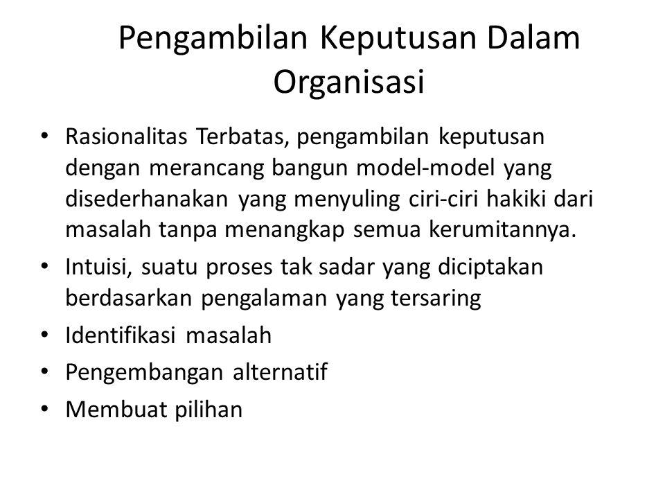 Pengambilan Keputusan Dalam Organisasi Rasionalitas Terbatas, pengambilan keputusan dengan merancang bangun model-model yang disederhanakan yang menyu