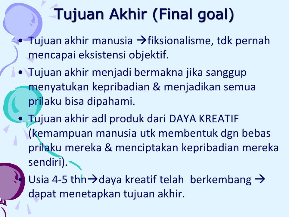 Tujuan Akhir (Final goal) Tujuan akhir manusia  fiksionalisme, tdk pernah mencapai eksistensi objektif.